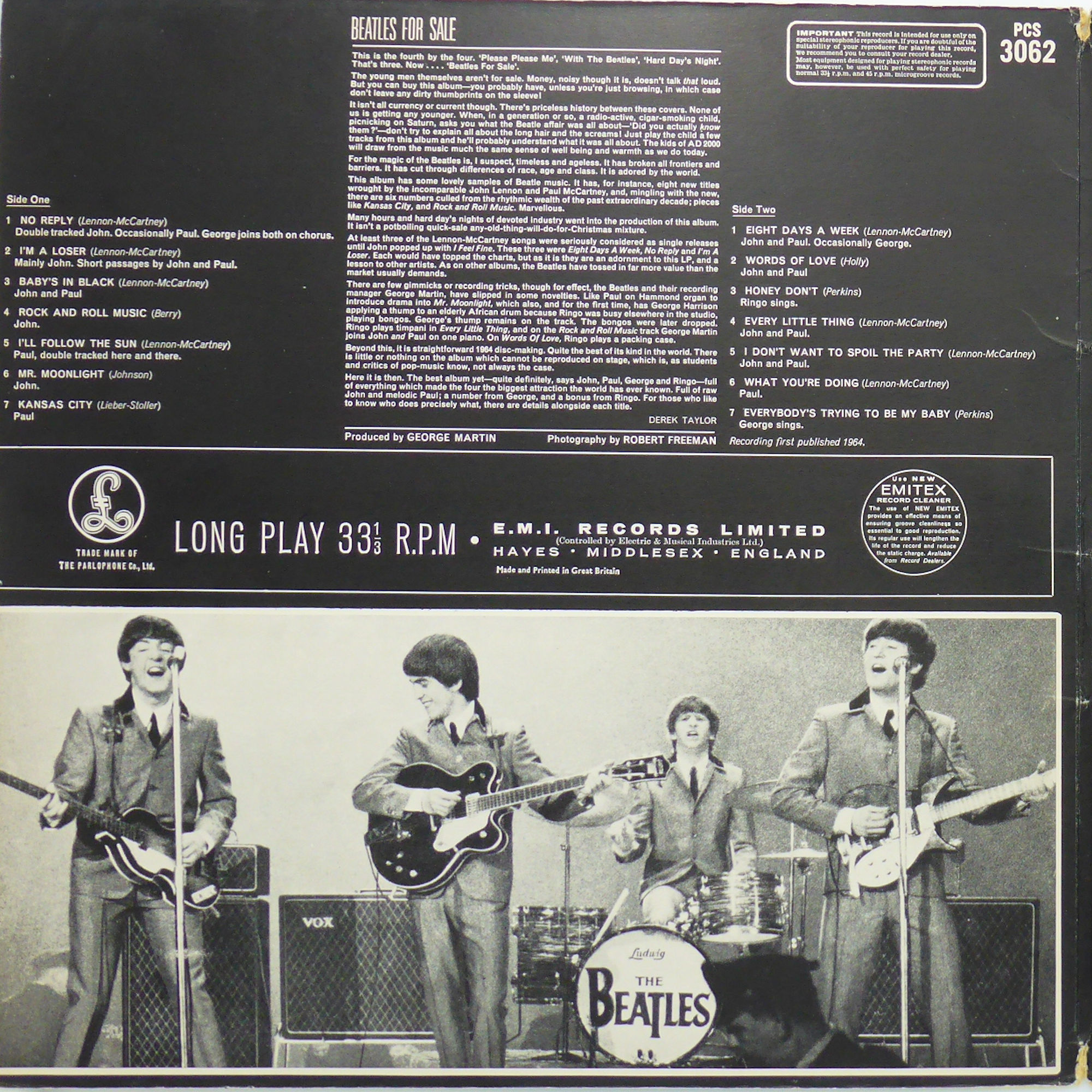 The Beatles Beatles For Sale Pcs 3062 1964 Stereo